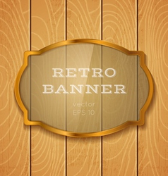 Glass banner on light wooden background vector