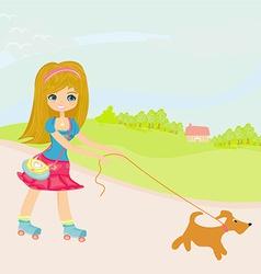 Girl rollerskating walking the dog on rural vector