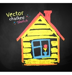 Chalk drawing of house vector