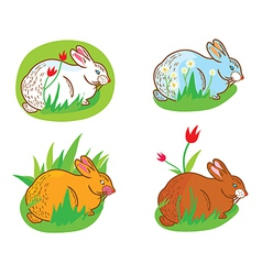 Rabbit in the grass vector