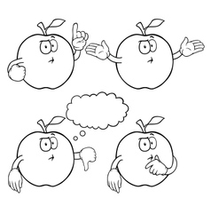 Black and white thinking apple set vector