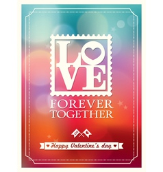 Valentines day love word bokeh background vector