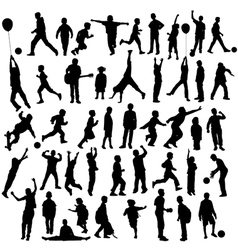 Silhouettes of children vector