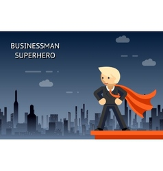 Businessman superhero over night city vector