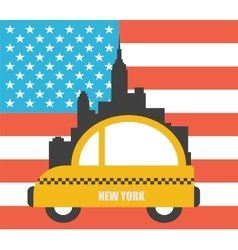 Usa colour flag new york city skyline vector