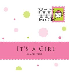 Baby girl arrival card vector