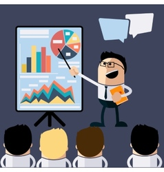 Meeting businessman pointing presentation vector