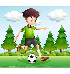 A boy kicking the ball near the pine trees vector