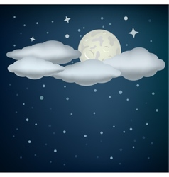 Clouds and moon vector