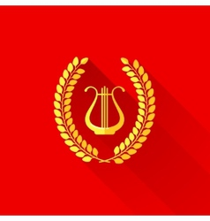 With laurel wreath and harp in flat style vector