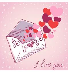 Love letter valentine retro card vector