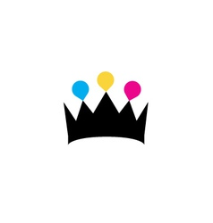 Crown with colorful droplets logo concept vector