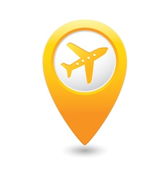 Plane icon on map pointer yellow vector