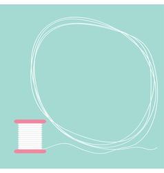 Spool of thread round frame flat desigh love card vector