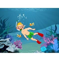 Diver boy vector
