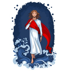 Jesus walking on water vector