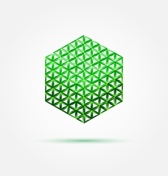 Green isometric cube icon made with triangles - vector