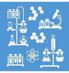 Chemistry decorative icons set vector