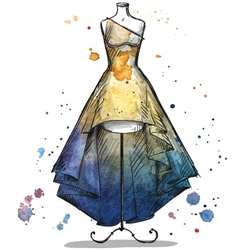 Mannequin with a long dress vector