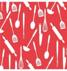 Kitchen utensils on red card vector
