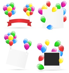 Festive frames with inflatable bright air balls vector