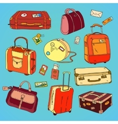 Collection of vintage travel suitcases with vector