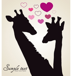 Giraffe in love vector
