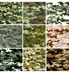 9 set of camouflage pattern vector