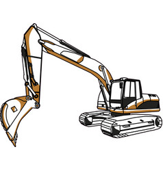 Caterpillar cat excavator vector