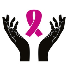 Hands with breast cancer ribbon symbol vector