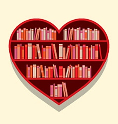 Heart shape bookshelf on wall vector