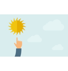 Hand pointing to sun icon vector