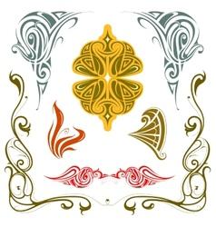 Art nouveau style design elements set vector