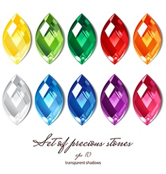 Crystals set of 10 colors vector
