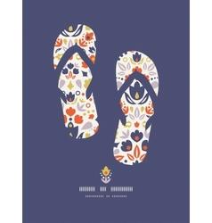 Ornamental folk tulips flip flops pattern vector