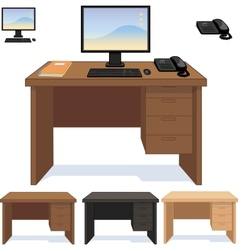 Wood desk with computer telephone and papers set vector
