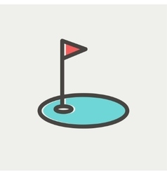 Golf flag in hole thin line icon vector