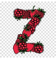 Letter z made from red berries sketch for your vector