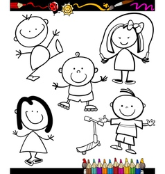 Happy kids cartoon coloring book vector