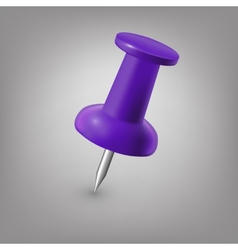 Purple push pin isolated vector