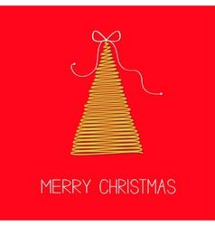 Fir christmas tree with bow scribble christmas vector