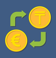 Currency exchange euro and tenge vector