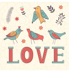 Beautiful love card with birds vector
