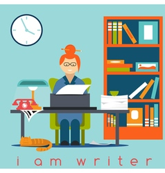 Freelancer writer girl flat design concept vector
