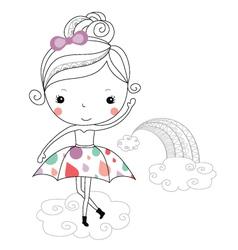 Fairytale ballerina -rain kids vector