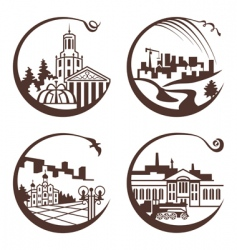 Set of graphic city vector