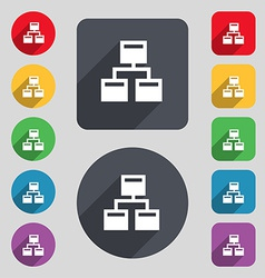 Local network icon sign a set of 12 colored vector