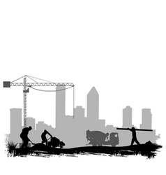 Construction workers on site vector