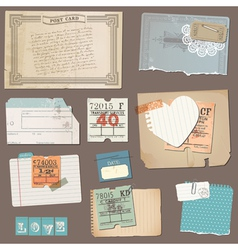 Set of old paper objects vector