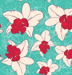 Seamless floral pattern fantasy blooming pink vector